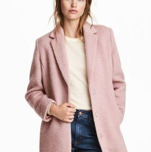 Long pink wool pea coat